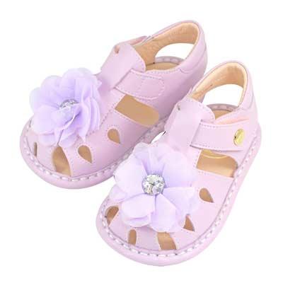 Swan天鵝童鞋-浪漫花朵白鑽寶寶涼鞋1511-紫
