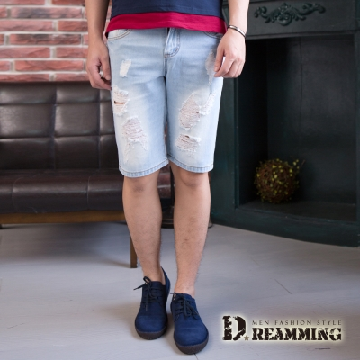 Dreamming 韓系街頭刷破洗白牛仔短褲