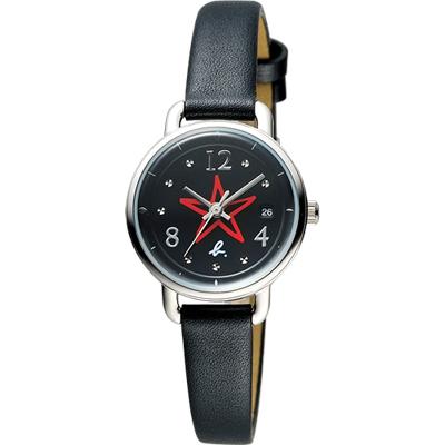 agnes b. ART 法式藝術手繪星星時尚套錶-黑/26mm