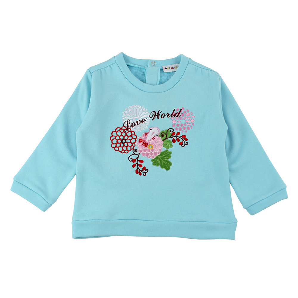 愛的世界 純棉牡丹金魚圓領上衣-天藍/2~4歲