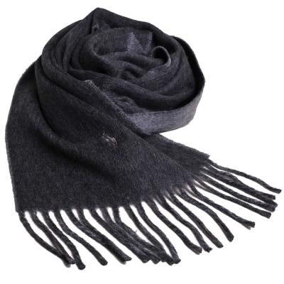 RALPH LAUREN POLO 小馬刺繡LOGO雙面配色義大利製羊毛圍巾(深灰/灰)