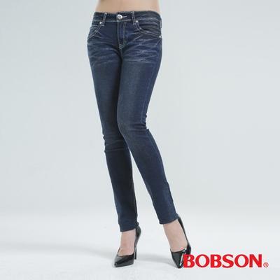 BOBSON 銀蔥亮鑽小直筒褲-深藍 8066-53