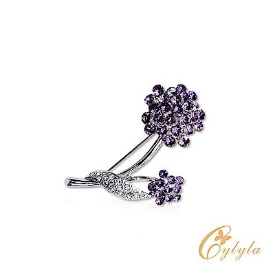 Cylyla思琳娜 施華洛世奇元素璀璨紫鑽茉莉胸針別針B-3292