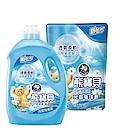 熊寶貝 衣物柔軟精超值1+6組_沁藍海洋香(3.2L x 1瓶+1.84L x 6包)
