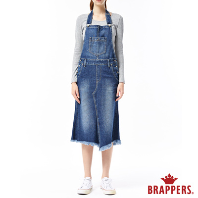 BRAPPERS 女款 Boy friend 系列-燕尾吊帶長裙-藍