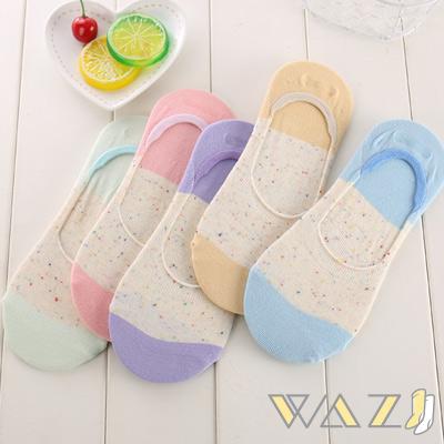 Wazi-日系雙色點點紗防滑隱形襪 (1組四入)