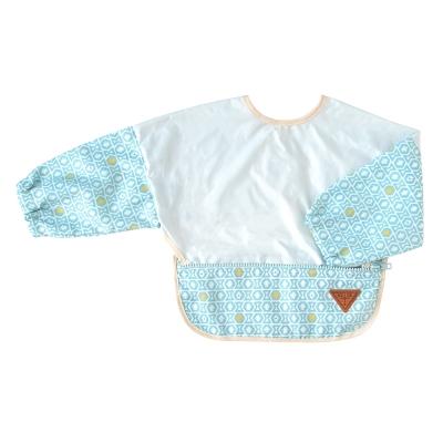 BOBO 粉彩圖騰收納式餐圍兜(長袖/藍)