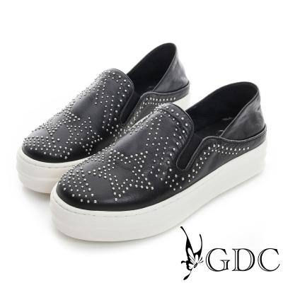 GDC舒適-星星鉚釘真皮厚底懶人休閒鞋-黑色
