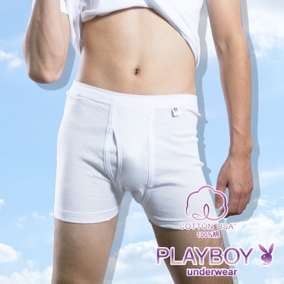 PLAYBOY 100%純棉 親膚羅紋四角褲
