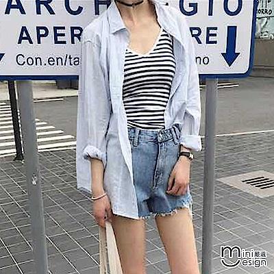 棉麻防曬薄款長袖襯衫 二色-mini嚴選