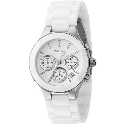 DKNY 陶瓷經典時尚三眼計時腕錶(白/銀)
