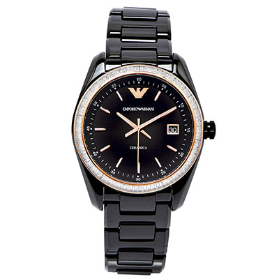 ARMANI Ceramica 奢華微醺水鑽陶瓷女性手錶(AR1496)-黑面/38mm