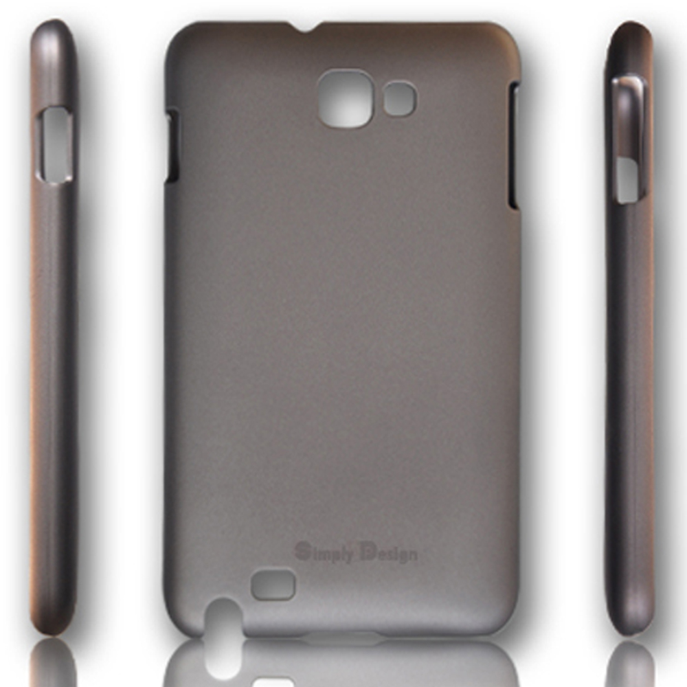 Metal-Slim Samsung Galaxy Note皮革漆保護殼(鐵灰)