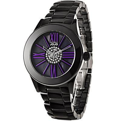 NATURALLY JOJO 認真X任真晶鑽陶瓷時尚腕錶-黑x紫/37mm