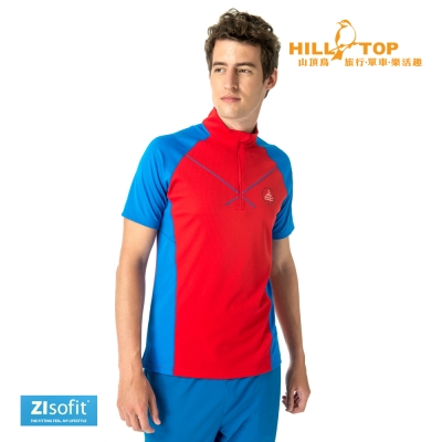 【hilltop山頂鳥】男款ZIsofit吸濕排汗彈性上衣S14ME7紅
