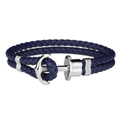PAUL HEWITT  航海船錨手環-藍皮帶X銀扣