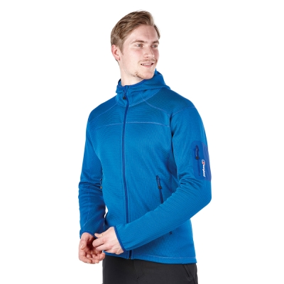 【Berghaus貝豪斯】男款彈性刷毛保暖連帽外套H22MS4-藍