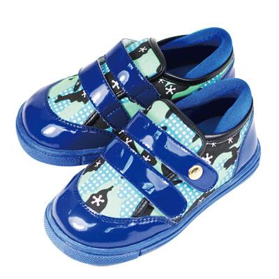 Swan天鵝童鞋-漆皮迷彩布運動休閒鞋 3726-藍