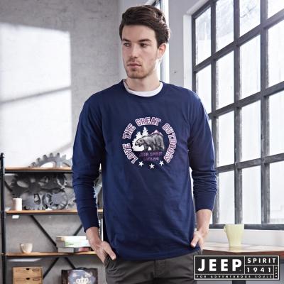 JEEP北極熊圖騰經典長袖TEE (海軍藍)