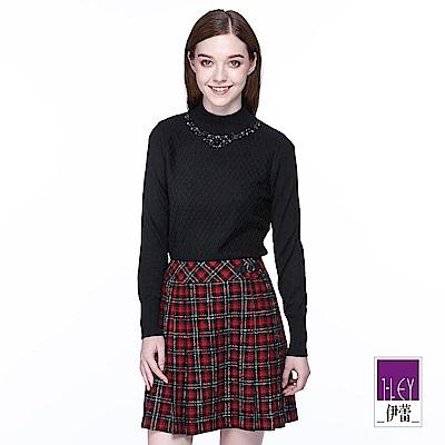 ILEY伊蕾 緹織格紋立領針織上衣(黑/粉)