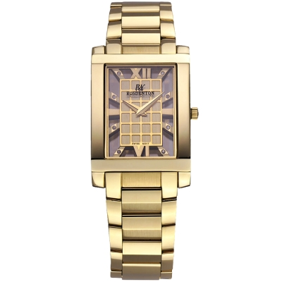 ROSDENTON 勞斯丹頓風雪華麗晶鑽時尚手錶-金/22mm