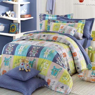 IN HOUSE-Colorful montaget-精梳棉-兩用被床包組(藍色-特大)