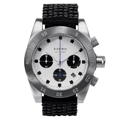 ELECTRIC DW01系列-經典潛水三眼計時腕錶-白面x黑帆布帶/44.5mm