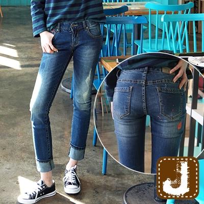 正韓-顯瘦割破刷色漆點窄管褲-水洗藍-100-Korea-Jeans