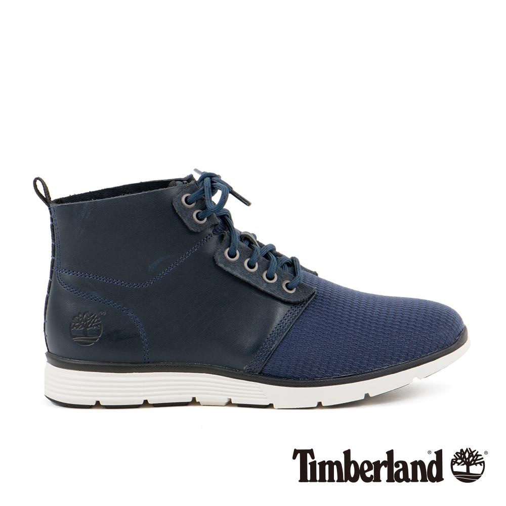 Timberland Killington男款海軍藍皮革搭網布彈性休閒鞋