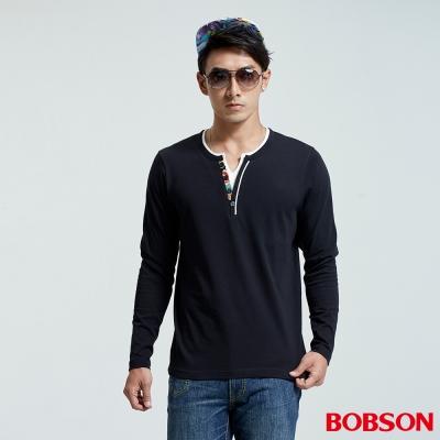 BOBSON 男款合身仿兩件長袖黑色上衣