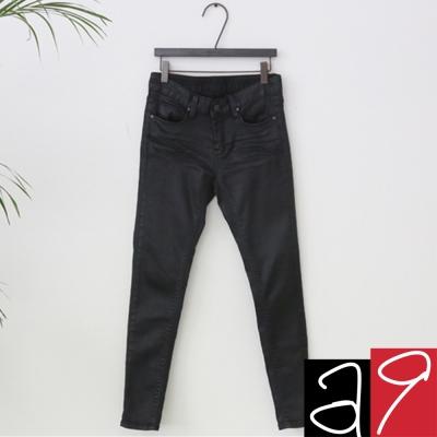 正韓-時尚顯瘦窄管素黑長褲-水洗黑-a9