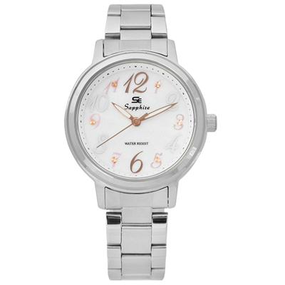 Sapphire  精彩時刻珍珠母貝藍寶石水晶不鏽鋼手錶-白色 /31mm