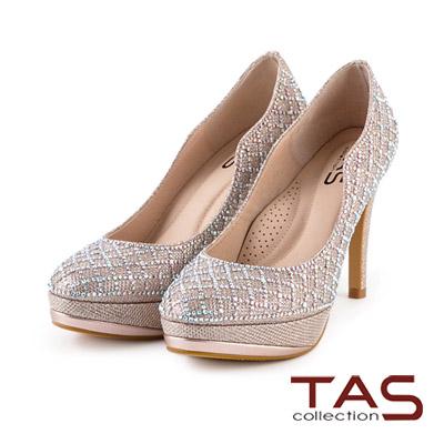 TAS-璀璨水鑽波浪曲線高跟鞋-玫瑰金