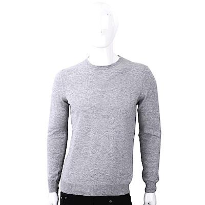 TRUSSARDI T字刺繡細節淺灰色圓領針織羊毛衫