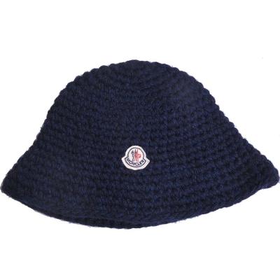 MONCLER 經典品牌圖騰羊毛造型毛帽(深藍)