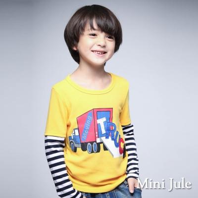 Mini Jule 童裝-上衣 貨車字母假兩件條紋袖T恤(黃)
