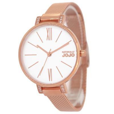 NATURALLY JOJO 完美簡約時尚米蘭腕錶-玫瑰金/33mm