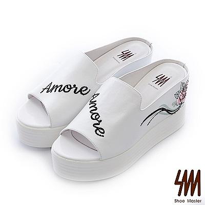 SM-民俗瘋系列-薔薇刺繡素色厚底中高楔型拖鞋-白色