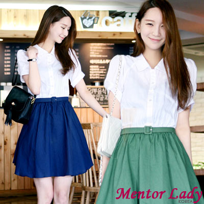 【Mentor Lady】學院風假兩件腰帶洋裝 (共二色)
