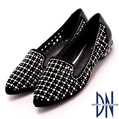 DN-時尚MIT-閃亮鑽飾簍空羊皮低跟鞋-黑