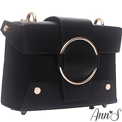 Ann'S我行我素-時髦立體硬殼圓環拼接相機包-黑