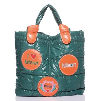 Kitson 徽章圖案鋪棉托特包 OLIVE ORANGE