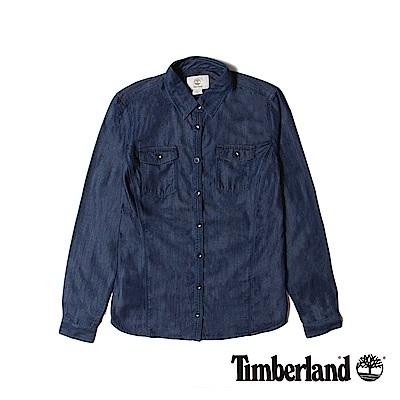 Timberland-女款深藍色雙口袋長袖牛仔襯衫