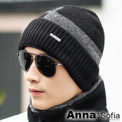 AnnaSofia 框窗騰小橫標 加厚針織貼頭毛帽(黑灰系)