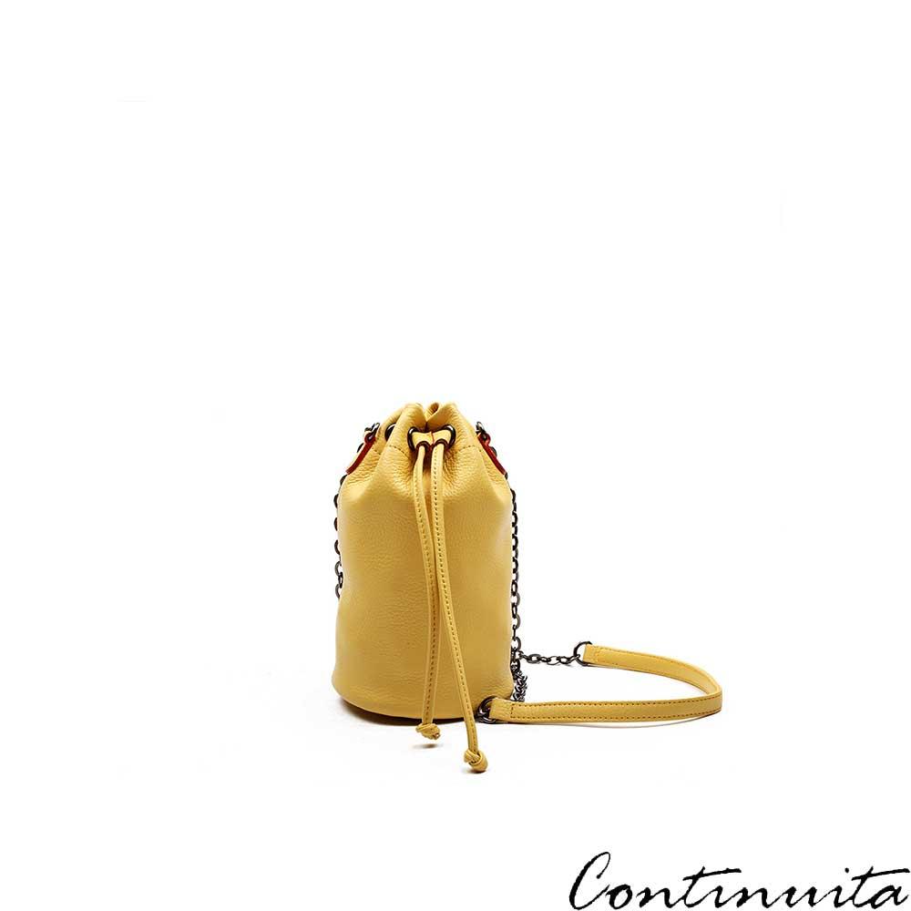 Continuita 康緹尼 頭層牛皮日本隨身律感斜背包-黃色