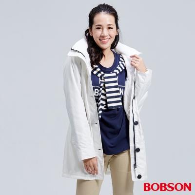 BOBSON  女款防風FLEECE長外套-白色