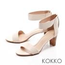 KOKKO-經典復古真皮ㄧ字帶拉鍊高跟涼鞋-白色