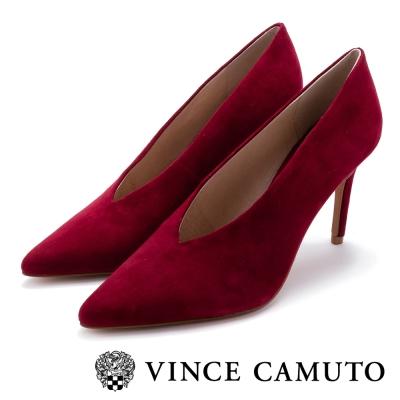 VINCE CAMUTO 紐約都會 麂皮V字切口尖頭高跟鞋-紅色