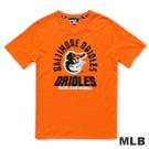 MLB-巴爾的摩金鶯隊環繞文字LOGO印花T恤-桔(男)