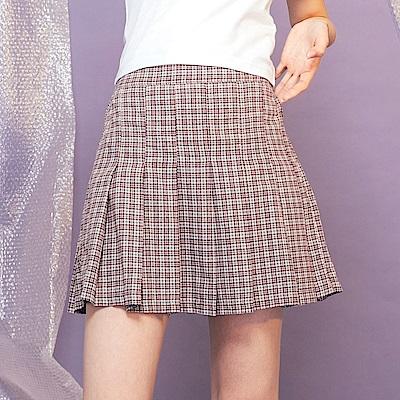 CACO-高腰格紋百摺褲裙-女【PSH230】